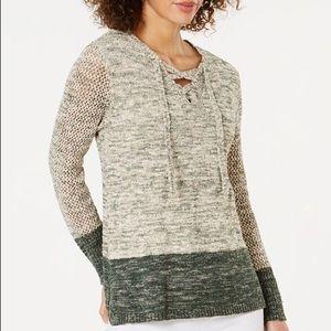 Style & Co Boho Retreat Sweater Green/Cream Large